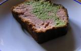 Cake marbré pistache et fraises Tagada