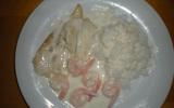 Filet sole/saumon, sauce fruits de mer