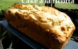 Cake ricotta, olives vertes et pignons