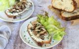 Tartines au fromage frais et champignons