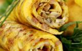 Omelette roulée aux lardons et champignons