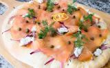 Pizza au saumon et Tartare