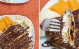 Blintzes fourrés à la ricotta, salade de fruits & chocolat fondu
