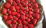 Tarte aux fraises et crème d'amande à la pistache