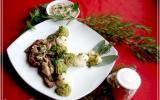 Aiguillettes de biche et mousse de choux-fleurs et brocoli