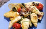 Calamars au barbecue, vinaigrette au citron confit