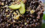 Risotto vegan de lentilles, thé fumé et parmesan de fruits secs