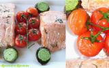 Papillotes de saumon aux champignons farcis tomates confites