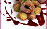 Aiguillettes de canard aux pruneaux, sauce vigneronne et rattes du Touquet