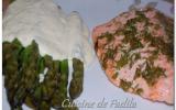 Dos de saumon à l'aneth et asperges vertes sauce parmesan