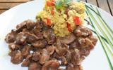 Salade de riz aux gésiers de poulet frais