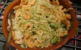Tagliatelles aux brocolis, aux crevettes et au sésame