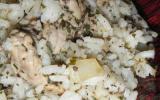 Escalope de poulet et son riz vert
