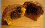 Muffins au potimarron, coeur et glaçage au chocolat