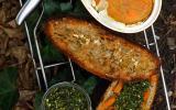 Terrine de carotte à l'orange et miel sur pain de la veille et sous pesto de fanes de carottes à l'amande