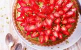Tarte à la pistache et fraises du Périgord IGP
