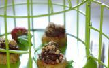 Bouchée crousti-croquante à la pâte d'amande, safran abricot et chocolat