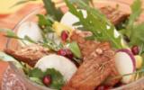 Sauté d'agneau en salade exotique, fruitée et épicée
