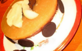 Bavarois poires-chocolat sur lit d'amandes