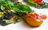 Tranches de courgettes grillées au jambon cru, mozzarella et pesto