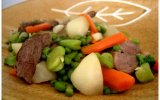 Jeunes légumes sautés au wok et émincé de canard