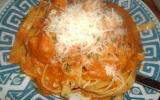 Tagliatelles au scampis crème-tomate
