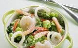Cocottes de calamars et crevettes sautées aux légumes verts