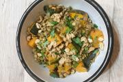 Salade de lentilles au potimarron rôti et granola salé