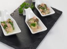 Huîtres pochées au champagne, dés de foie gras mi cuit