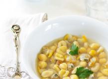 Soupe terre-mer (d'Italie) en bouillon de coquillages Ariaké