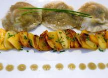 Ravioles de kaki persimon au foie gras