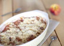 Crumble peches griottes