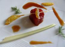Sashimi de thon au miel et citronnelle