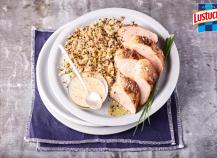 Quinoa crémeux et son filet mignon de porc à la moutarde