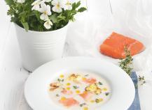 Velouté de chou-fleur au saumon de Norvège