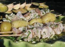 Recette brochettes de porc marin es au massal 750g - Brochettes de poissons marines et grilles ...