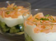 Verrines concombre,saumon rapide
