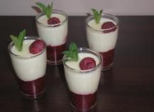 Crème au chocolat blanc et framboises