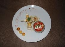 Brochette de boudin blanc et pommes caramélisées