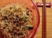 Nouilles de riz sautées au boeuf