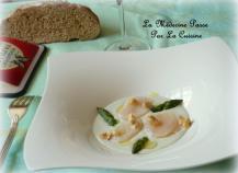 Saint-Jacques en carpaccio et crème de roquefort Papillon, asperges vertes et noisettes