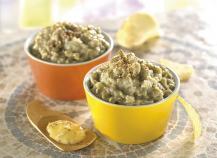Caviar d'aubergine fumé à la moutarde forte