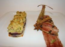 Suprême et cuisse de pigeon roti truffé sous la peau, mille-feuille de légumes oubliés en crumble de mendiants, jus réduit aux épices