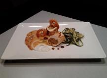 Suprêmes de volaille au kaki et salade fraîcheur de courgettes