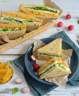 Club sandwich au houmous de carottes