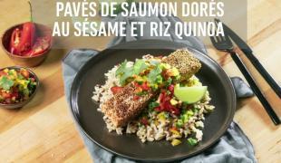 Pavés de saumon dorés au sésame et riz quinoa