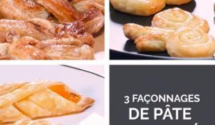 3 jolis façonnages de pâte feuilletée