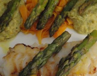 Poisson aux asperges vertes curry et carotte