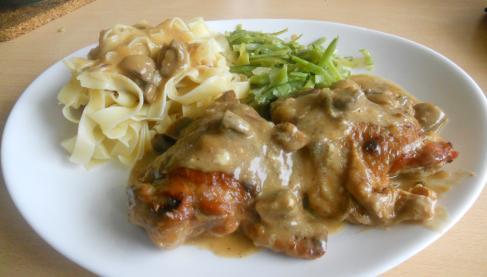 Recettes de cuisses de poulet aux champignons les recettes les mieux not es - Cuisse de poulet au vin blanc ...