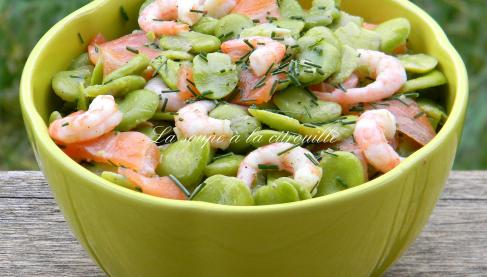 recette salade de f ves au saumon fum et aux crevettes 750g. Black Bedroom Furniture Sets. Home Design Ideas